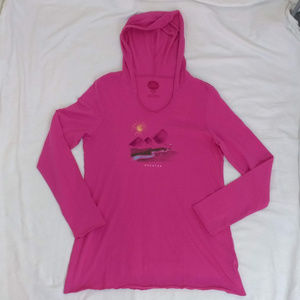 Life Is Good Shirt Hooded L/Sleeve Breathe fushia